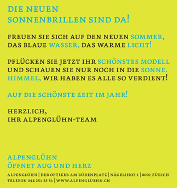 Alpengluehn Optiker Zurich