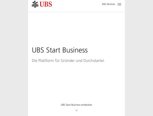 Microsite «UBS Start Business» für UBS