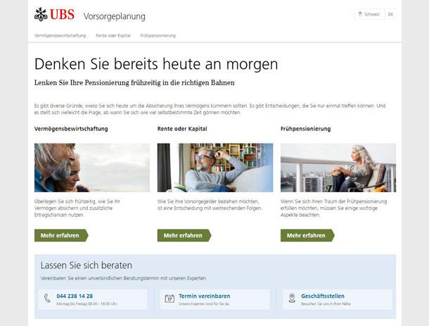 Microsite «Vorsorge-Planung» für UBS